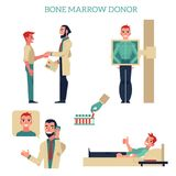 Flat marrow bone donation concept set. Male patients and doctors shaking hands, donating blood, calling phone, making x-ray scanning. Vector isolated Royalty Free Stock Image