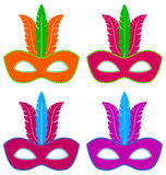 Flat masks with feathers Royalty Free Stock Photography