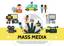 Flat Mass Media Concept. With photo video cameras microphones news car flash usb drive reporter radio tower journalists hands holding professional devices stock illustration