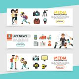 Flat Mass Media Horizontal Banners. With reporter paparazzi photographer and journalist professional equipment vector illustration vector illustration