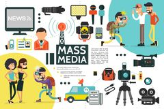 Flat Mass Media Infographic Template. With reporter id card microphones news car cameras dictaphone newspaper uniform paparazzi photographing people vector stock illustration