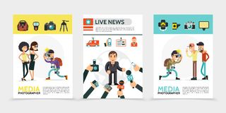 Flat Mass Media Posters. With paparazzi photographer professional equipment correspondent news car journalist id card reporters hands holding camera microphones royalty free illustration
