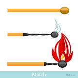 Flat match with fire and burned Royalty Free Stock Photography