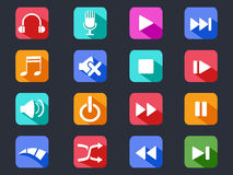 Flat media button long shadow icons Royalty Free Stock Photo