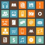 Flat media devices and services icons set Royalty Free Stock Images