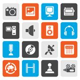 Flat Media and household  equipment icons. Vector icon set Royalty Free Stock Images