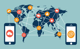 Flat media icons with mobile phones and world map. Infographic vector Royalty Free Stock Photography