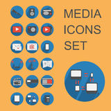 Flat media icons set. Set vector media icons in flat design Stock Photo
