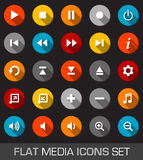 Flat media icons with shadow Royalty Free Stock Images