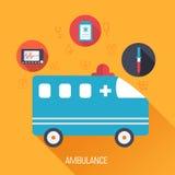 Flat medical ambulance icons illustration Stock Photo