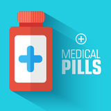 Flat medical bottle pills background. vector Stock Images