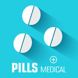 Flat medical bottle pills background. vector Stock Photos