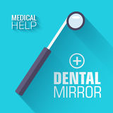 Flat medical dental mirror background. vector Stock Image