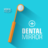 Flat medical dental mirror background. vector Royalty Free Stock Images
