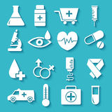 Flat medical equipment set in shape heart icons Royalty Free Stock Photo