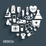 Flat medical equipment set in shape heart icons concept background. vector illustration design for web and mobile template.  vector illustration