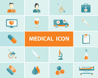 Flat medical and health icons vector background Stock Photography