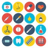Flat medical healthcare app GUI design accessory tool icon set Royalty Free Stock Photos