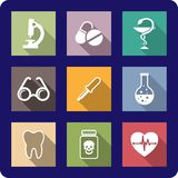 Flat medical and healthcare icons Stock Image