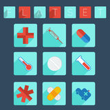 Flat medical icon set Stock Images