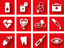 Flat medical icon set. With shadow on red background royalty free illustration