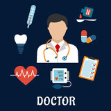 Flat medical icons with a doctor. Surrounded by a thermometer, tooth, pills, medication, chart, heartbeat and ECG on a blue background Stock Photos