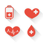 Flat medical icons of donate blood with long shadow Royalty Free Stock Photography