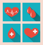 Flat medical icons of donate blood with long shadows Stock Image