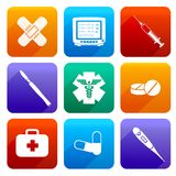 Flat medical icons. Flat medical emergency first aid care icons set with capsule sticking plaster scalpel isolated vector illustration Stock Image