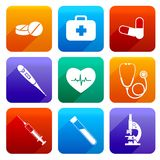 Flat medical icons. Flat medical emergency first aid care icons set with pill first kit heartbeat isolated vector illustration Stock Image