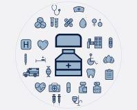 Flat medical icons set. Health care elements Royalty Free Stock Image