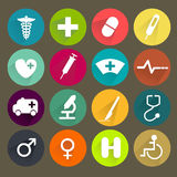 Flat medical icons set Stock Photo