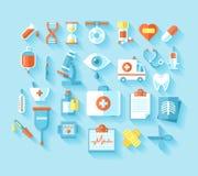Flat medical icons set. Stock Images