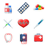 Flat medical icons. Set. Pill thermometer tonometer heartbeat therapy medicament capsule. Vector illustration Royalty Free Stock Images
