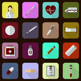 Flat medical icons. Set of 16 flat medical icons. Vector illustrsation stock illustration