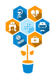 Flat medical icons with shadow Royalty Free Stock Image