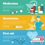 Flat Medicine Banner Set. Flat horizontal banner set with three different themes of medication vaccination and first aid vector illustration Royalty Free Stock Photo