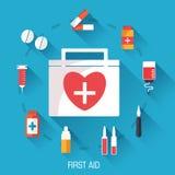 Flat medicine equipment set icon concept on Royalty Free Stock Image
