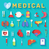 Flat medicine equipment set icon concept on Stock Photography