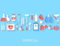 Flat medicine equipment set icon concept on Stock Image