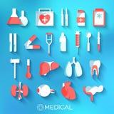 Flat medicine equipment set icon concept on Stock Photography