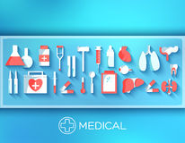 Flat medicine equipment set icon concept on Stock Images
