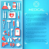 Flat medicine equipment set icon concept on Royalty Free Stock Photos