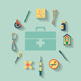 Flat medicine icons set Stock Images
