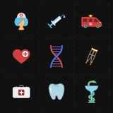 9 flat medicine icons Royalty Free Stock Photos