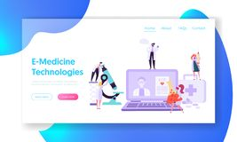 Online Healthcare Technology Concept Landing Page. Doctor Character Help Patient People with Diagnostic. Medicine stock illustration