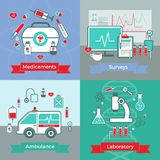Flat Medicine Square Concept Stock Images