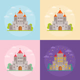 Flat medieval castles set Stock Photo