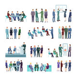 Flat Meeting Conference Groups Set Royalty Free Stock Photography