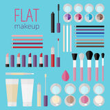 Flat mega set of makeup products Stock Photos